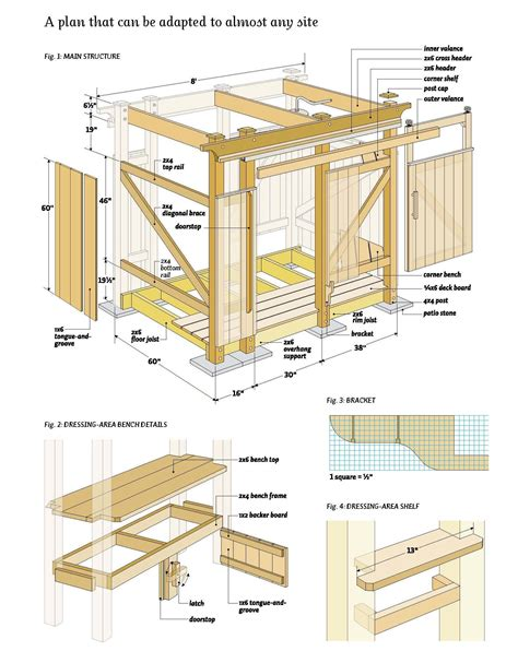 outdoor shower wood plans