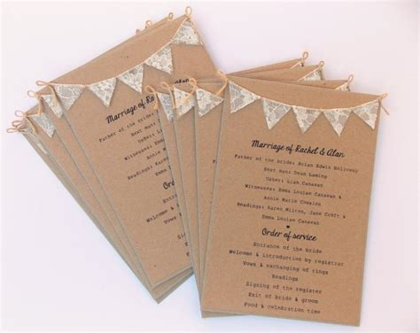 Gift Card Program - order of service cards rustic wedding kraft card with lace bunting wedding