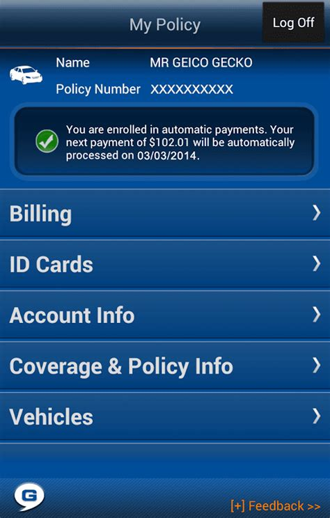 Geico Gift Card - geico app screenshot
