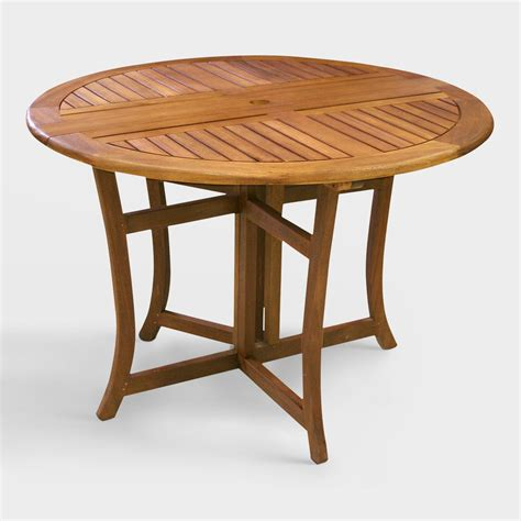 Round Wood Danner Folding Table World Market Wood Patio Tables