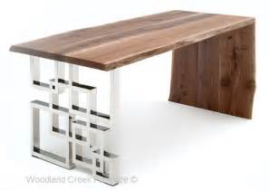 modern wood computer desk live edge desk modern wood desk slab desk chic