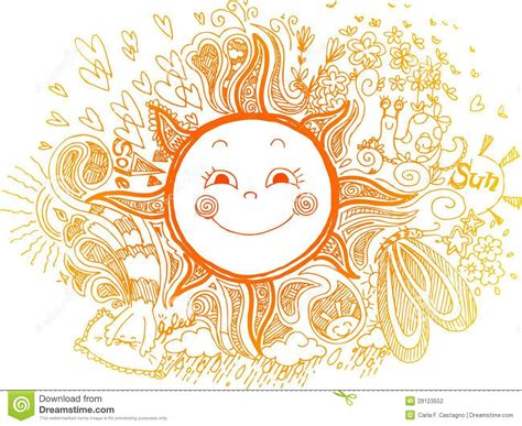 doodle orang orange sun doodles vector stock vector image of
