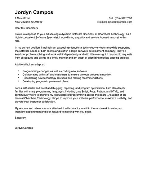 Educational Technology Specialist Cover Letter by Software Specialist Cover Letter Exles Computers Technology Cover Letter Sles Livecareer