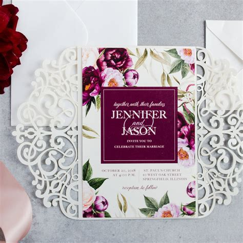 Wine And Gold Template Wedding Invitation Card Sle classic boho burgundy watercolor floral garden wedding