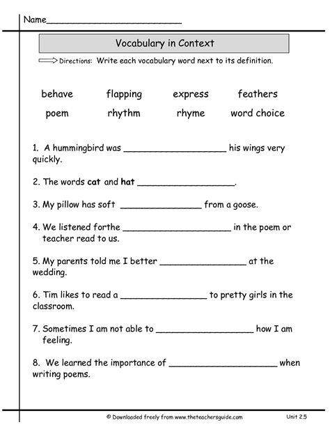 Grammar Worksheets For 2nd Grade by 2nd Grade Language Arts Worksheets