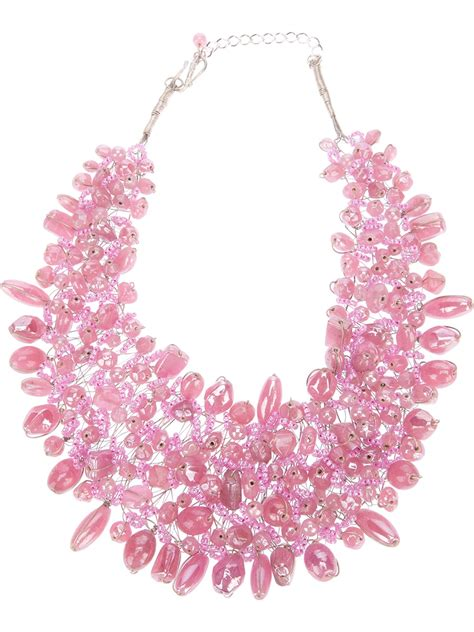 twist n scout beaded necklace in pink lyst
