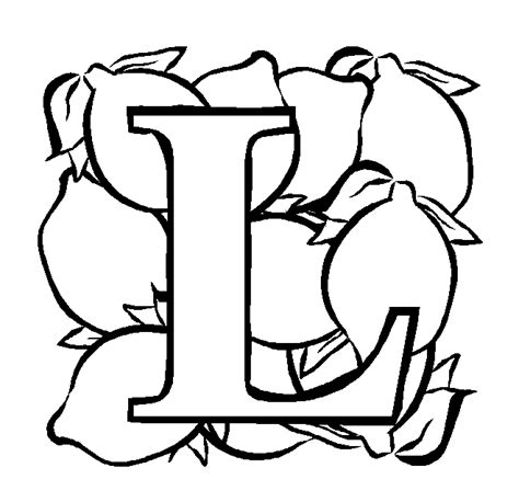 Alphabet L Coloring Pages by Letter L Lemon Coloring Page