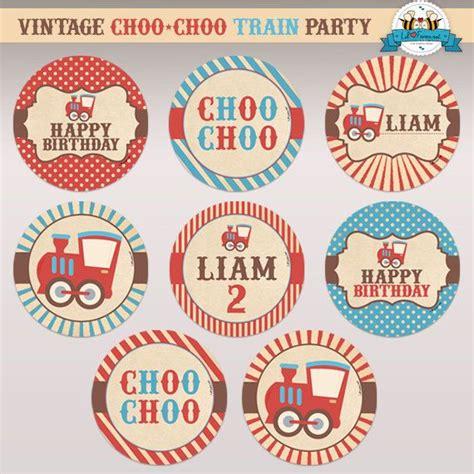 free printable train birthday decorations editable vintage choo choo train birthday party 2 quot cupcake