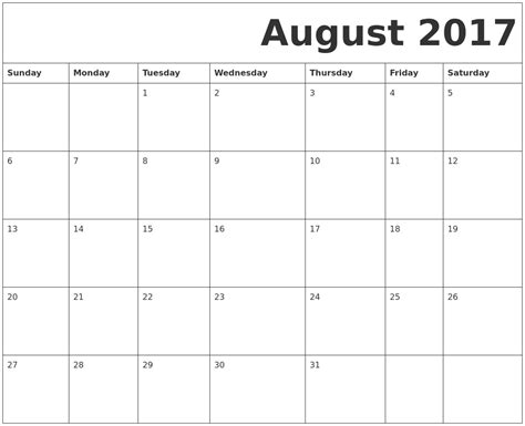 printable calendar august 2017 august 2017 free printable calendar