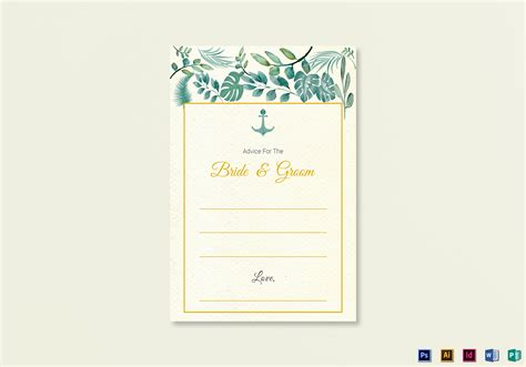 Nautical Card Template by Nautical Wedding Advice Card Template In Psd Word
