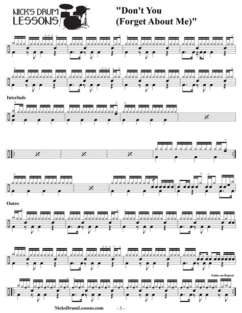 drum tutorial for songs quot don t you forget about me quot simple minds drum sheet