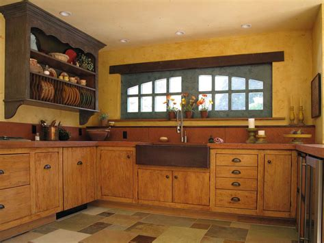 Small Kitchen With Island Ideas by Yellow Wood Kitchen Cabinets With French Country Style