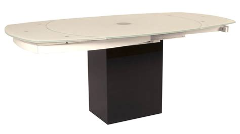 black extension dining table manlio white glass and black granite base extension dining