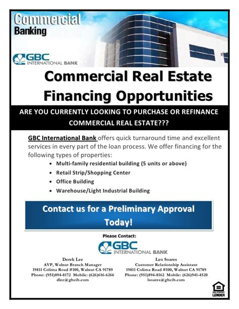 commercial real estate financing opportunities flyer