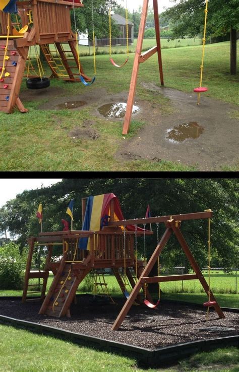 backyard playground mulch before after of a church playground no more mud puddles