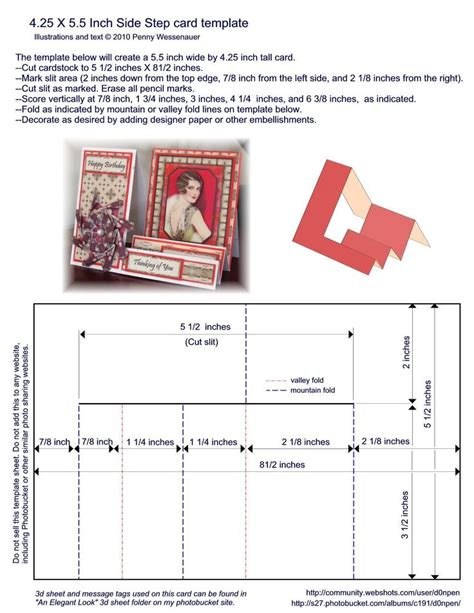 a2 4 25 x 5 5 side step card template card misc templates pat