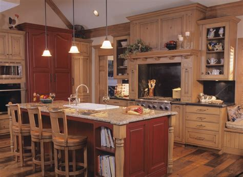 Pottery Barn Kitchen Islands by Rustic Kitchen With Red And Tan Wood Color Scheme By Drury