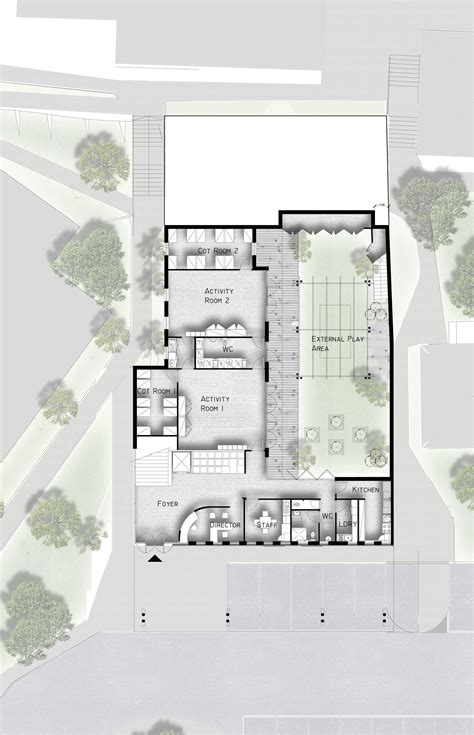 ground floor concept plan showing layout  childcare