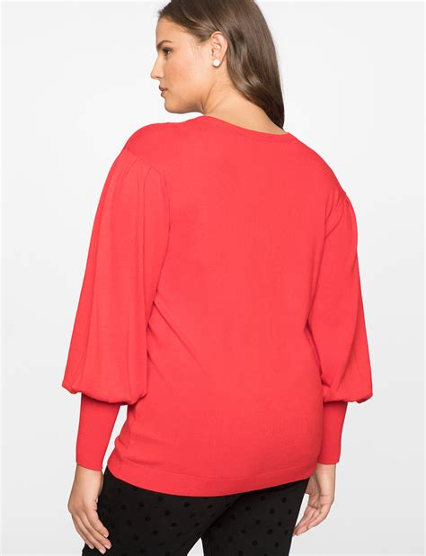 Puff Sleeve Pullover puff sleeve sweater s plus size tops eloquii