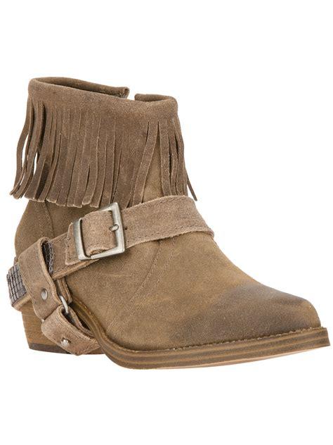 steve madden fringe boots steve madden fringed western boot in brown lyst