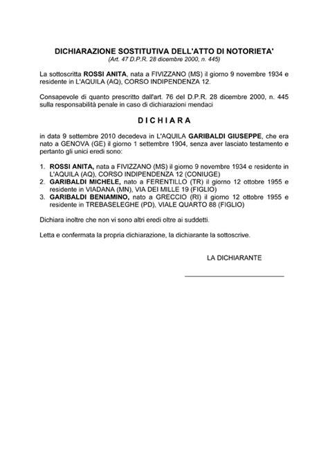 dichiarazione prima casa successione la dichiarazione sostitutiva dell atto notorio nella