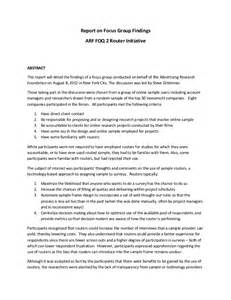 Focus Group Discussion Report Sample Arf Foq2 Router Focus Group Report