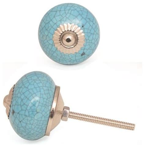 Eclectic Cabinet Knobs by Ceramic Knobs Cracked Turquoise Set Of 2 Eclectic