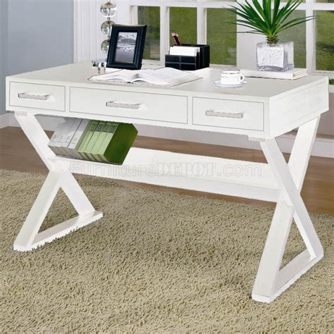 White Finish Modern Home Office Desk W Criss Cross Legs White Desk Home Office