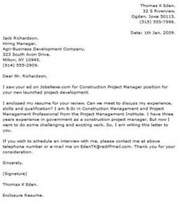 construction manager cover letter project manager cover letter exles