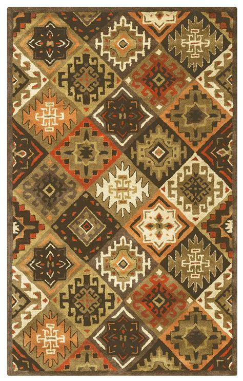 southwest diamond tribal wool area rug  orange red tan