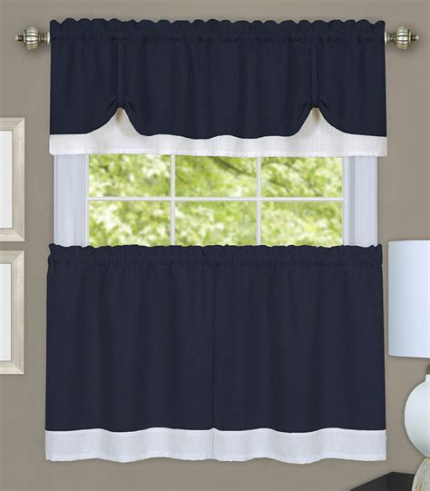navy white curtains darcy kitchen curtains navy white tiers swags