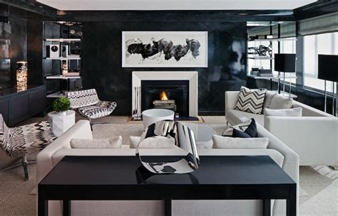 room with black walls white and black living room contemporary living room