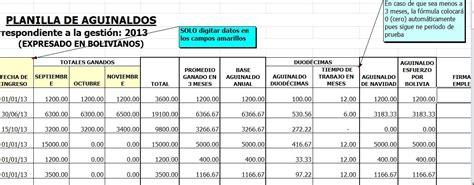 formato excel pago de planilla formato de planilla doble aguinaldo bolivia impuestos blog