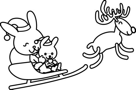 santa rabbit black white line art coloring sheet colouring page xmas christmas 1979px png 1979