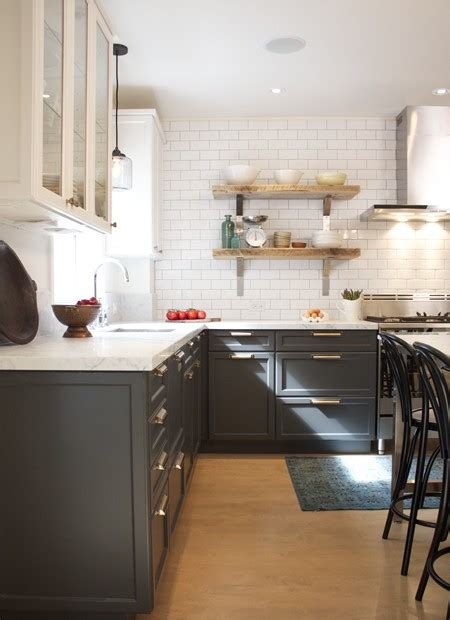dark gray kitchen cabinets trending dark lower kitchen cabinets the decorologist