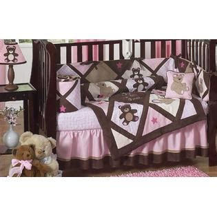 Teddy Crib Set by Sweet Jojo Designs Teddy Pink Collection 9pc Crib