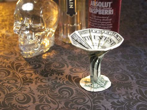 Origami Martini Glass - dollar origami martini glass