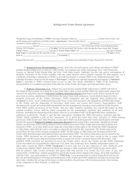 Refrigerated Trailer Rental Agreement Free Download Trailer Lease Agreement Template