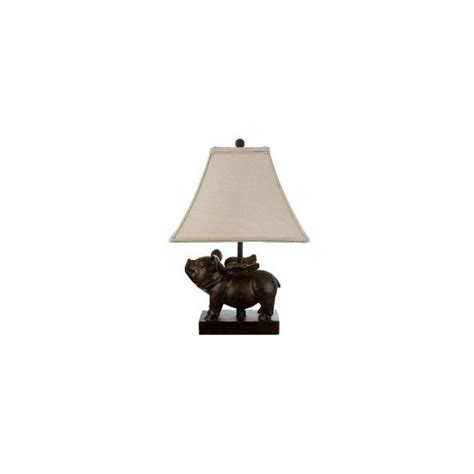 Hog Lighting Desk by Bronze Flying Pig Table L With Linen Shade Target