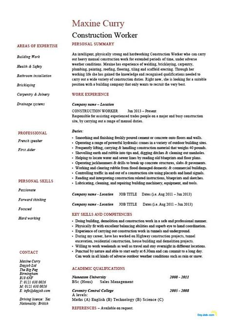 Resume Sles For Construction Workers Construction Worker Resume Building Exle Sle