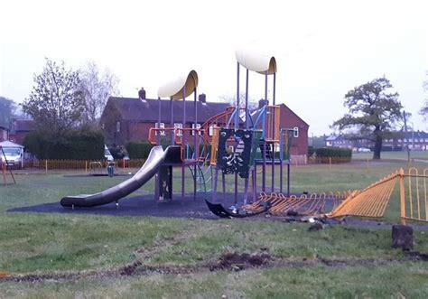 ashton park play area  open  fencing mangled