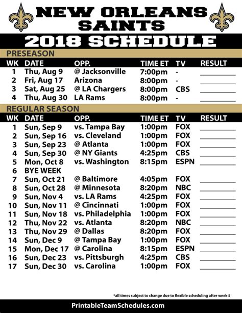 Printable Saints Schedule 2015 | saints preseason schedule 2014 2015 autos post