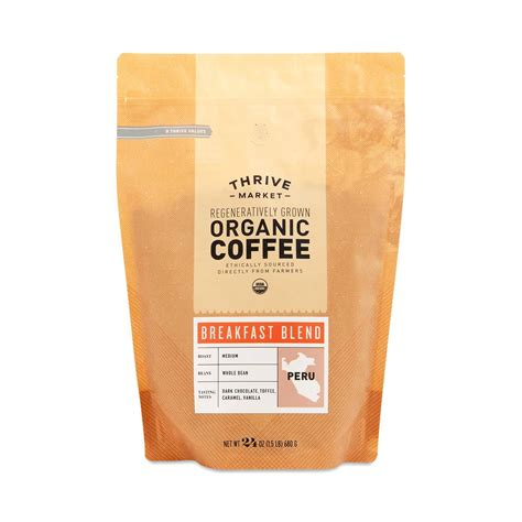organic  bean breakfast blend coffee thrive market