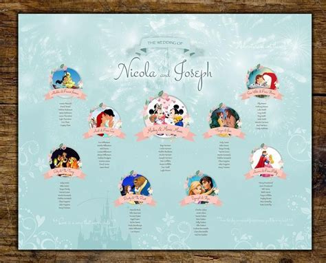 Beautiful Disney wedding table plan   by jill