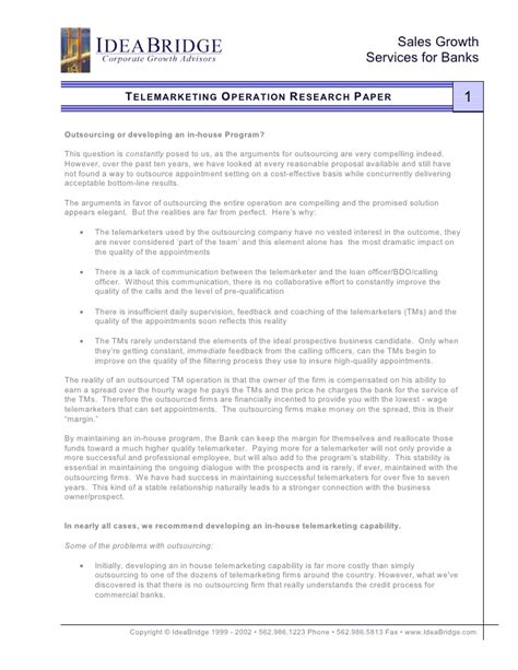 research paper on operation research confidential telemarketing operation research paper for