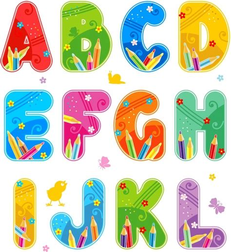 colorful fonts vector colorful font design alphabet free vector in