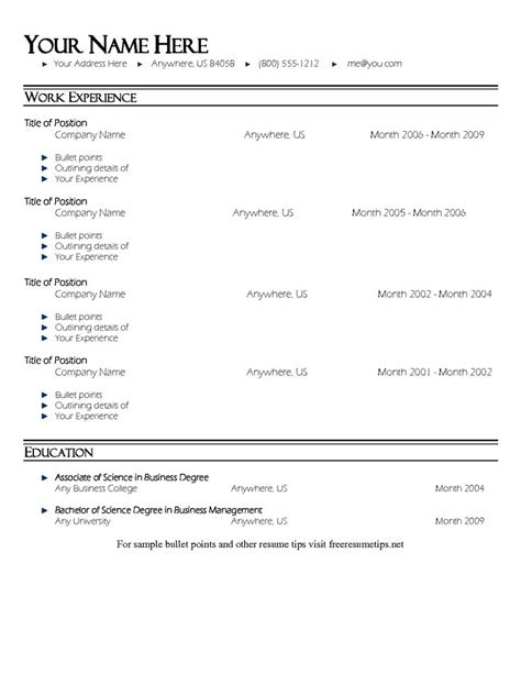 Professional Resume Bullet Points Bullet Point Resume Template Resume Template 1