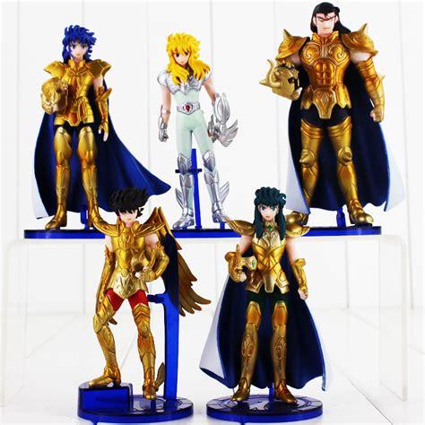 Seiya Gold Figure Set Isi 6 5pcs lot 14cm anime seiya figure gold myth cloth shaka saga kanon mask
