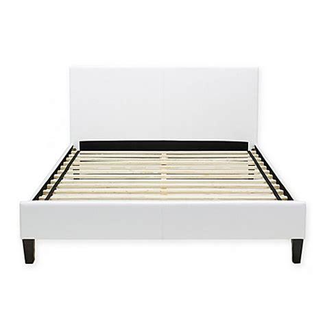 Buy Platform Bed Frame Buy E Rest Faux Leather Platform Bed Frame In White From Bed Bath Beyond