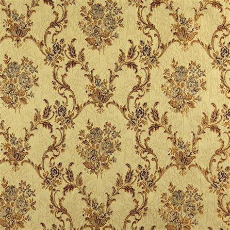 brocade upholstery fabric k0014h gold brown ivory large scale embroidered floral